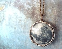 Dark Side of the Moon Necklace. Sterling Silver Chain. Double Sided. Full Moon Jewelry