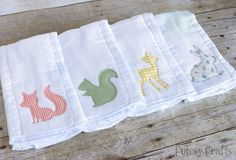 DIY Baby Burp Cloths with Appliques cut with the Silhouette (with tutorial) - Cutesy Crafts