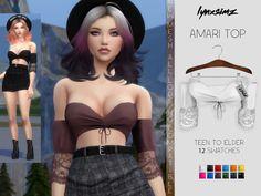 The Sims 4 Lynxsimz - Amari Top Sims 4 Game Mods, Sims Mods, Sims 4 Mods Clothes, Sims 4 Clothing, Sims 4 Cas, Sims Cc, Maxis, Sims 4 Anime, Sims 4 Traits