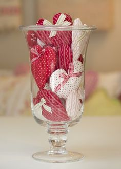 Glass vase filled with hearts - Bunny Hill Designs