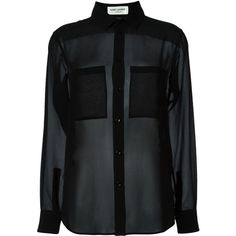 Saint Laurent sheer blouse (4.160 DKK) ❤ liked on Polyvore featuring tops, blouses, shirts, blusas, black, long-sleeve shirt, long sleeve silk shirt, long sleeve collared shirts, sheer silk blouse and sheer blouse