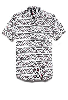 Even tho this is for men I WILL be rocking this with some high-waist denim cut offs....Reverse Geo Print Shirt | 21 MEN #SummerForever #21Men