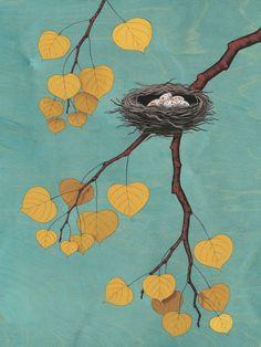 Nest in the Aspen Tree Art Print by Kate Halpin