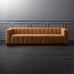 Forte Channeled Saddle Leather Extra Large Sofa - Image 1 of 9