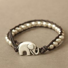 elephants, lucki eleph, animals, charms, accessori, pearls, wrap bracelets, beads, leather