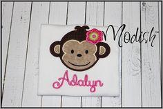 Mod Monkey Girl Custom Personalized Appliqued by SoModish on Etsy.