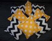 Cornhole bags Black chevron Yellow Polka Dots corn hole bean bags Wedding 8 ACA regulation bags