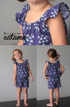 FREE pattern in size 4T - flutter sleeve romper with sewing tutorial | Nähanleitung: Sommer-Jumpsuit für Kinder