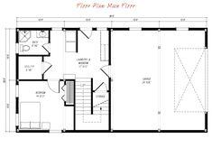 Pre-designed Ponderosa Country Barn Home Main Floor Plan Layout3