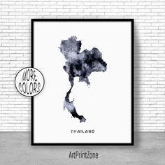 Thailand Print, Thailand Art Print, Watercolor Print, Thailand Map Decor, Wall Art Prints, Moving Away Gift, Moving Gift, ArtPrintZone #WallArtPrints #WatercolorPrint #ArtPrintZone #MovingAwayGift #MovingGift