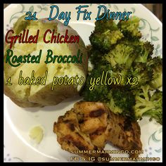21 Day Fix Dinner.  Color of font indicates which containers used