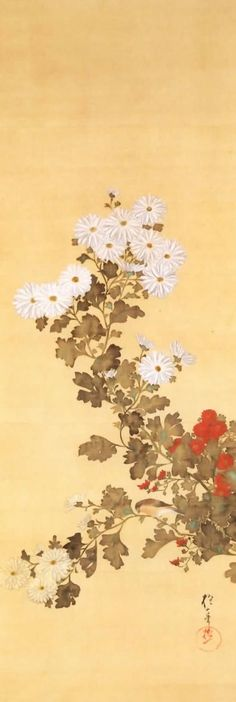 """Sakai Hoitsu: one of twelve hanging scrolls sets: """"Flowers and Birds of the Twelve Months."""" 1823, Edo period. Japan. color on silk. Imperial Collection, Tokyo, Japan"""