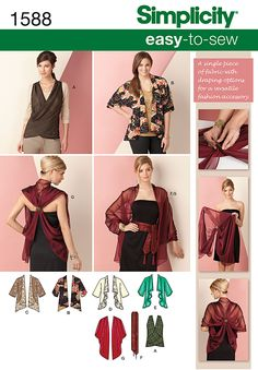 Simplicity - 1588 Kimono Jacket & Wrap Size X - Easy to sew kimono jacket with front variations, sleeveless wrap top with knit back can be worn with a tee or alone. Belt or scarf & wrap with draped back interest