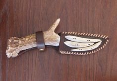 Antler Handled Knife with Sheath  Great groomsmen gifts for all the hunters!