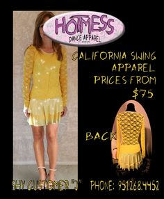 """California Swing Costumes Starting at $75 This is our customer """"J"""". Phone 951-268-4452"""