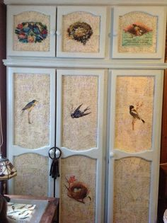 My old Pine wardrobe decoupage , images thanks to graphics fairy x used home made chalk paint and wax finish