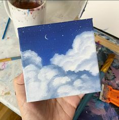 A little behind the scenes: I'm back in the studio! Over the holidays my fiancée and I have been traveling (our second cross country trip… Small Canvas Paintings, Easy Canvas Art, Small Canvas Art, Cute Paintings, Mini Canvas Art, Acrylic Painting Canvas, Cute Art, Watercolor Art, Art Drawings