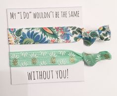 A personal favorite from my Etsy shop https://www.etsy.com/listing/291679143/bridesmaid-hair-tie-favorsbridesmaid