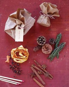 Fireplace Sachets:  These easy-to-make sacks can be burned in the fireplace, where their contents' natural fragrances will be released. Start with an 8-inch or 12-inch square of brown paper. Fill with dried orange peel and cloves; cinnamon and star anise; or rosemary and pinecones. Make a pouch; tie with baking twine. Add a tag to write a note or the pouch's contents.