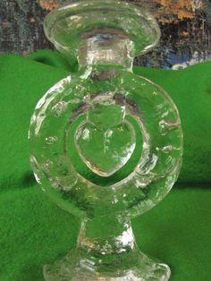 Sweden art glass Heart Candelabra Candlestick Candle Holder Pukeberg #Pukeberg