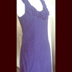 "Anthropologie baraschi blue cotton sundress So cute! Ruffle design around the neck, fully lined, cotton, with pockets. Very comfortable and in great condition. Measurements laying flat are: bust 16"", waist 15"", length from back neck to hem 33"". Side zip. Size 0 but runs large Anthropologie Dresses Mini"