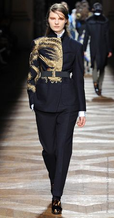 """Embroidery and brocade are popular in fall 2012 collections. Designers are pushing expensive looking fabrics as the economy begins to recover- a pendulum swing from the popularity of """"cheap chic"""" previously. - Jaimie B"""