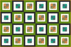 Easy to piece Contemporary Baby Quilt :: four-square centers with alternating double frame is eyecatching!