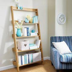 84 cm oak effect leaning shelves