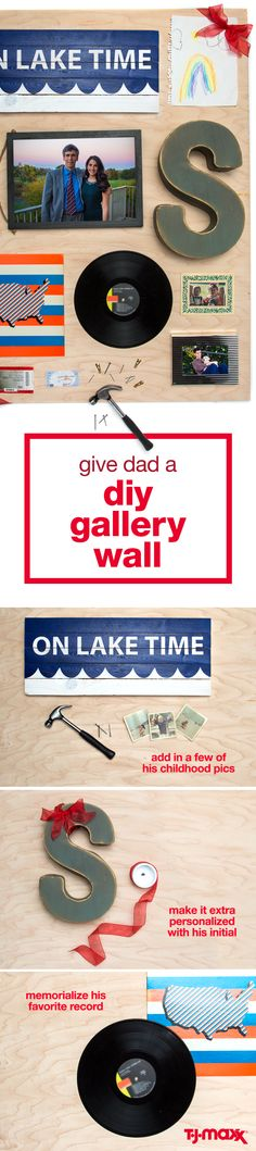 Father's Day craft idea: Make Dad a gallery wall with some of his favorite memories for a thoughtful Father's Day gift. Frame photos that span his lifetime, from old childhood pictures to him as a father. Add in records, ticket stubs, postcards and other mementos that'll make him smile. Create the gallery wall on a piece of plywood that can be propped up in his man cave or home office.