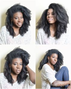 crush hair blow dried using the tension method and then flat ironed - one pass, medium heat Natural Hair Blowout, Blowout Hair, Natural Afro Hairstyles, Long Natural Hair, Cool Hairstyles, Natural Haircare, Natural Curls, Natural Life, Black Hairstyles