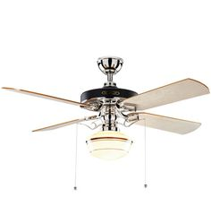 Heron Ceiling Fan with Light Kit Polished Nickel Maple Blades Classic Opal Schoolhouse Shade Coffee Stripe Polished Nickel Finish with Maple Blades