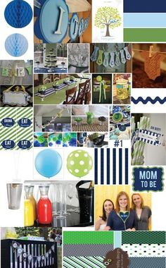 Great baby shower ideas-the colors match his room perfectly! Shower Party, Baby Shower Parties, Baby Boy Shower, Baby Showers, Office Color Schemes, Baby Room Colors, Kids Birthday Themes, Green Theme, Navy Green