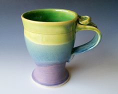 Pottery Coffee Mug in Green Lavender and Blue by riverstonepottery, $25.00