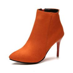 Orange Zipper Pointed Toe Ankle Suede Slip-On Women's Boots