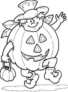 Accesories Pumpkin Coloring Pages - Halloween cartoon coloring pages