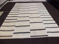 Large Black And White Stripe Kilim Rug 12 5 X8 3