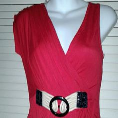WOMEN TOP NEW Red cotton top with one sleeve and belted waist GILLI Tops