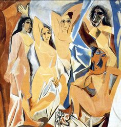 Cubism was a century avant-garde art movement, pioneered by Pablo Picasso and Georges Braque. This painting is Les Demoiselles D' Avignon by Picasso. Pablo Picasso, Art Picasso, Picasso Paintings, Picasso Style, Art Paintings, Watercolor Paintings, Picasso Sketches, Picasso Drawing, Cubist Movement