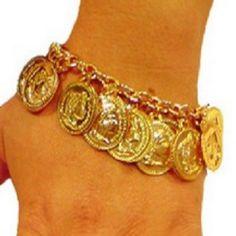 PULSEIRA CIGANA MOEDAS <br>Linda pulseira cigana ,ideal para dança cigana e dança do ventre. <br>Dourada com moedas em alumínio tamanho média. <br>acompanha saquinho em veludo.,