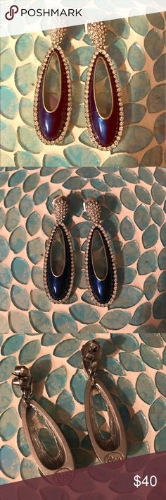 Something Blue! Lia Sophia Blue Bling Earrings 💙 Wedding Season is coming ladies! How GORGEOUS are these earrings?! They can easily be worn year round, for numerous special occasions! Special date nights, girls night, holiday parties, New Years Eve!! And of course my personal favorite, any wedding event! The most beautiful shade of blue, was pretty hard to capture the true color but the second photo is VERY close. Glitzy pave crystals all around the earring catch the light beautifully…