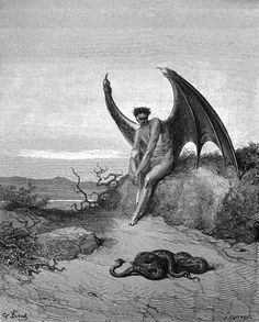 Lucifer, The Fallen Angel - Gustave Dore Artwork Print by Famouspaintings - SMALL Gustave Dore, Norman Rockwell, Satan, Gravure Illustration, Arte Horror, Angels And Demons, Wood Engraving, Religious Art, Art Plastique