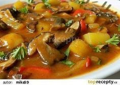 Czech Recipes, Ethnic Recipes, No Salt Recipes, Ratatouille, Thai Red Curry, Bacon, Stuffed Mushrooms, Food And Drink, Soup