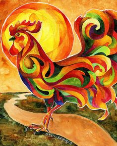 Fancy Feathers Rooster Painting