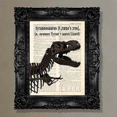 Dictionary Print - (Tyrannosaurus Rex) Dinosaur lover, T-Rex , Childs Room Decor, Kids Room art