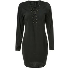 Sexy Long Sleeve Plunging Neck Black Hollow Out Lace-Up Women's Dress