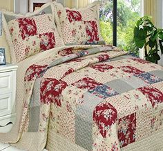 French Country Floral Patchwork 3 piece Quilt Coverlet Bedding Set