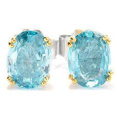 Gems en Vogue 3.64ctw Brilliant Cut Oval Blue Zircon Stud Earrings