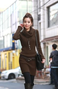 Fashion Long Sleeve Slim Sweater Dress with Belt on BuyTrends.com, only price $50.00