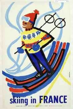 Loving this 'Skiing in France' vintage travel poster! Free to download from freevintageposters.com