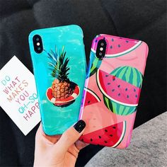 Blu-Ray Phone Case For iPhone X 6 7 8 Plus Cute Fruit Pineapple Watermelon Soft Diy Phone Case, Cute Phone Cases, Iphone 7 Plus Cases, Coque Iphone, Iphone 8, Pink Iphone, Full Contact, Apple Iphone, Accessoires Iphone
